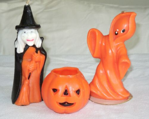 Vintage Gurley Candle Halloween Orange Ghost+Witch+JOL-Lot of 3 Unlit