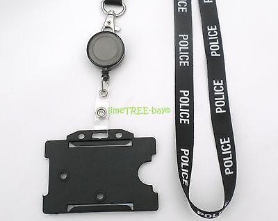 Police Lanyard Id Card Holder Badge Reel Security Identity Tag Photo Blue Black