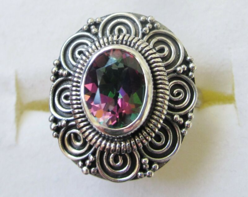 Northern Lights Mystic Topaz Ring in Sterling Silver sz 7.25