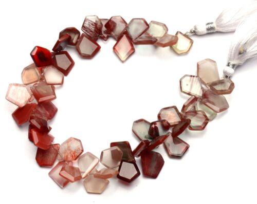 """Natural Gem Andesine Labradorite Faceted Slice Shape Beads 8.5"""" Strand 110Cts."""