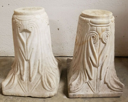 Antique Carved Decorative Marble Column Pedestal Bases Capital Floral Roman Styl