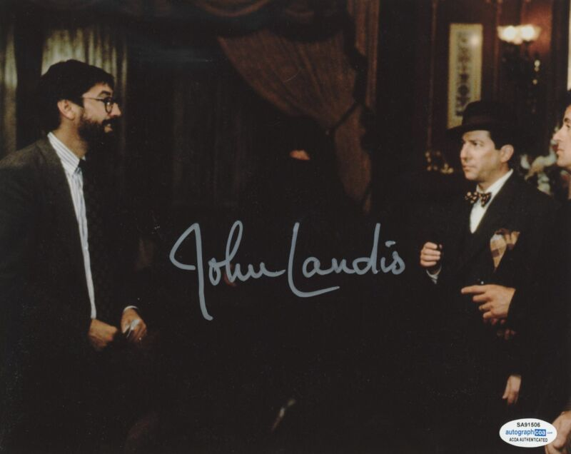 JOHN LANDIS SIGNED OSCAR 8X10 PHOTO ACOA
