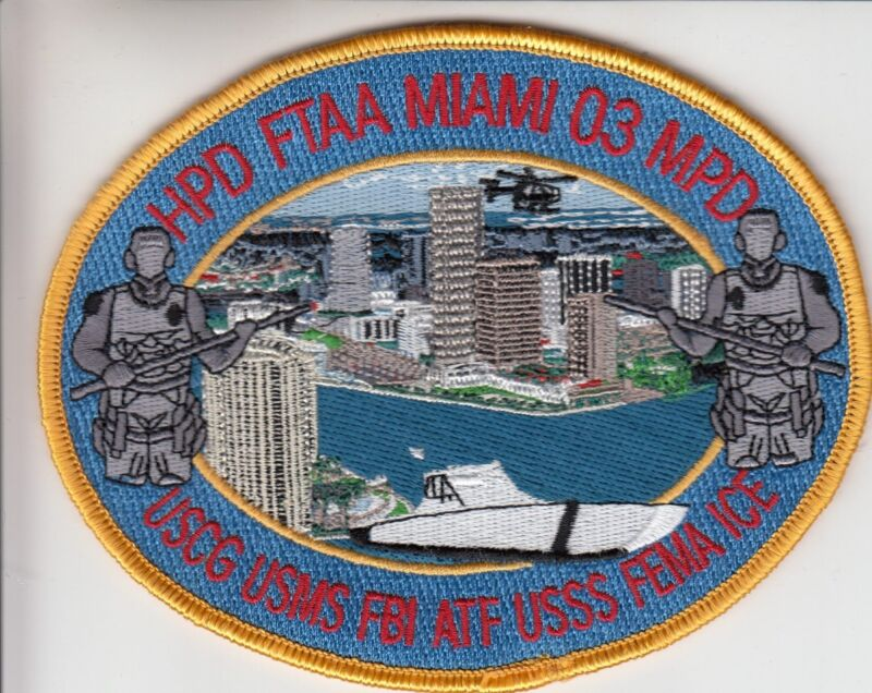FTAA MIAMI 03 MULTI AGENCY TASK FORCE FLORIDA FL POLICE PATCH (9+ AGENCIES)