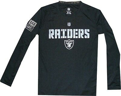 Oakland Raiders Youth Boys Long Sleeve Shirt Dri Tek Performance Clearance! - Clearance Boys