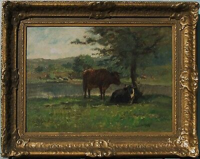 John R Johnston  American 19 Century  Cows Original Oil Painting Signed