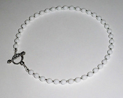 """White Czech Beaded Anklet Ankle Bracelet - Toggle Clasp - 10"""""""