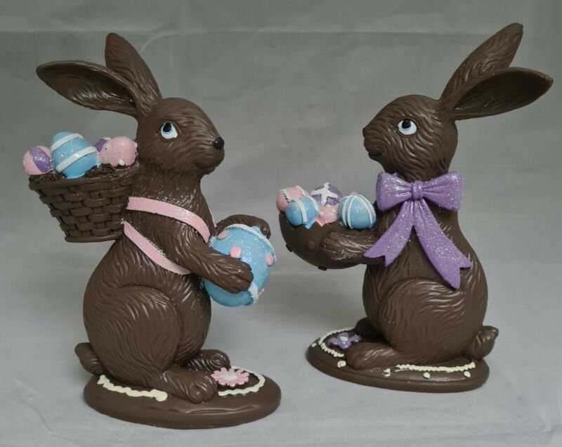 "Easter Chocolate Bunny Set 2 Egg Large Figurine 8"" Resin Spring Table Decor Gift"