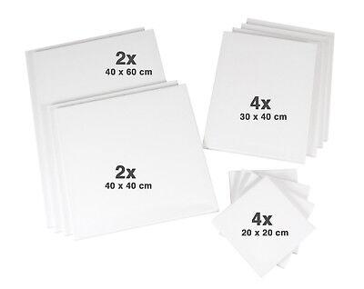 12er- Keilrahmen Set 1: je 2x 40x60 + 40x40cm, je 4x 20x20 + 30x40cm, 320gr/m²