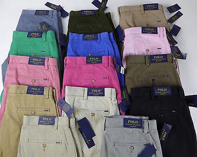 Polo Ralph Lauren Flat Front Cotton Chino Khaki Twill Pants NWT Classic Fit  $85