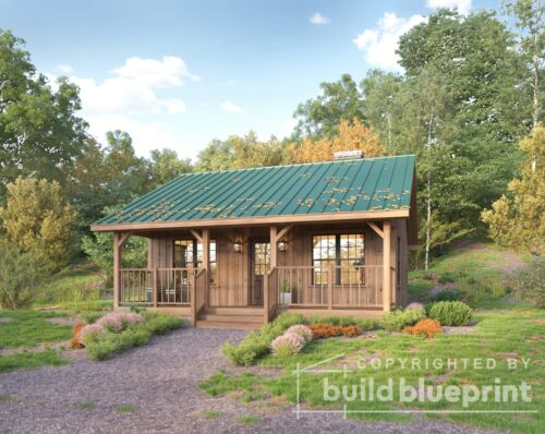 Small 670SF Vacation Cabin Architectural House Plans 1 Bedroom - PDF Download