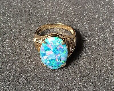 Women's Mosaic Blue Opal 14k Yellow Gold Triplet Ring - Size 7 ()