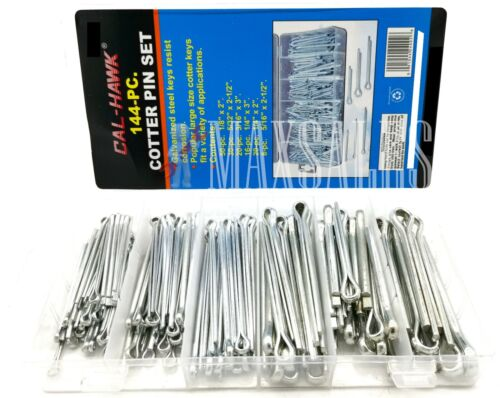 144Pc Large Assorted Cotter Pins Extra Large Pin Assortment Cotter Keys Set