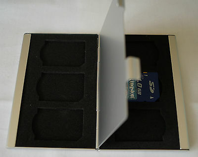 SD Speicherkarten - Box  aus Aluminium , Speicherkarten - Case für 6 SD-Karten