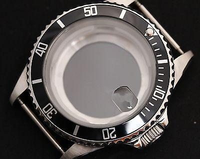 NEW Stainless steel watch case polished generic submariner black bezel eta glass