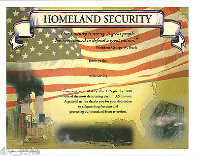 Homeland Security Certificate blank mint condition US Naval Institute