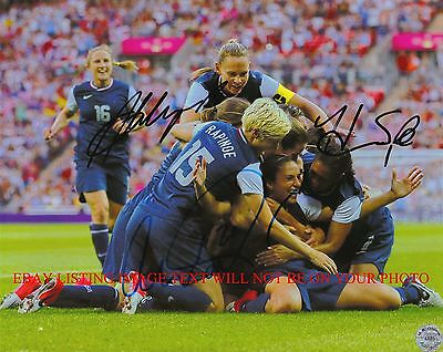 ALEX MORGAN HOPE SOLO AND ABBY WAMBACH AUTOGRAPHED 8x10 RP PHOTO USA SOCCER