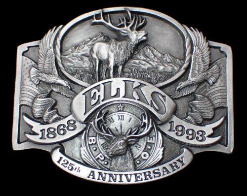 VINTAGE 1993 B.P.O.E. ELKS LODGE 125th ANNIVERSARY COMM.BELT BUCKLE #612/5000