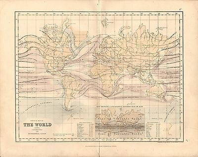 1868 ANTIQUE MAP-ARCHER- WORLD SHOWING CURRENTS AND ISOTHERMAL LINES