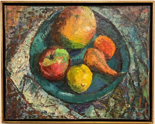 Unsigned 20th c. American MODERNIST STILL LIFE PAINTING Bowl of Fruit