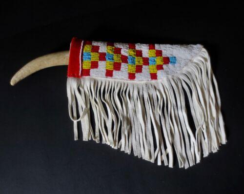 Plains Style Belt Sheath & Vintage blade, deer antler handle - P St John, Mohawk