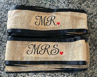 "Mr & Mrs Rustic Burlap Wedding Chair Ties~107"" Long x 5"" Wide~Black Ribbon Edge"