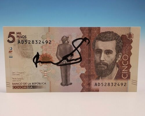 Roberto Escobar 5000 Peso Bill Signed With Fingerprint Autograph Pablo Narcos