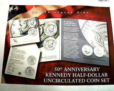 2014 50TH ANNIVERSARY KENNEDY HALF DOLLARS UNCIRCULATED COIN SET  K14
