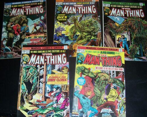 LOT/5 FN:The MAN-THING: 5, 10, 12, 15, 19 Gerber, Ploog, Marvel 1974, Bag&Board