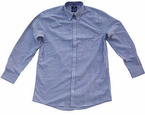 Stafford travel wrinkle free stripe long sleeve for How do wrinkle free shirts work