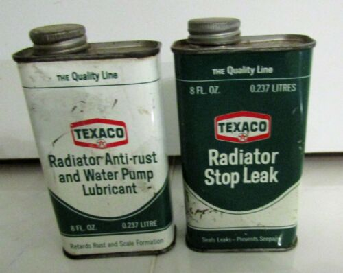 2 VINTAGE TEXACO FULL CAN: RADIATOR STOP LEAK & RADIATOR ANTI-RUST WATER PUMP LU