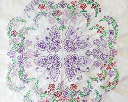 Lot of 3 Butterfly Quilt Blocks Cotton/Poly Fabric Flour Sack Hand Embroidered
