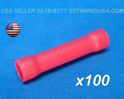 Usa Seller. 100pcs Red 22-18 Awg Butt Crimp Connectors Electrical Wire Terminals