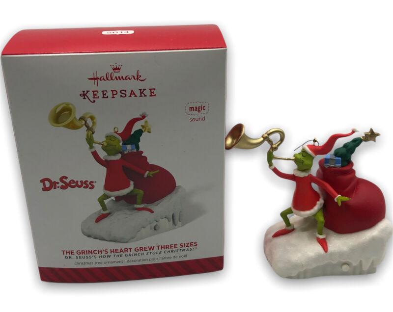 NEEDS BATTERY Hallmark 2014 Keepsake The Grinch Heart Grew Three Sizes Dr. Seuss