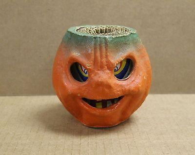 "Vintage 4"" Jack O' Lantern JOL Pumpkin Paper Mache w/Insert 0396"
