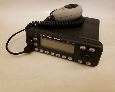 Motorola Mcs2000 800 Mhz Mobile Radio With Hand Mic 1ft Power Cable.
