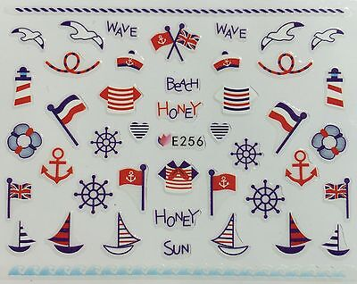Nail Art 3D Decal Stickers Beach USA Sail Boat American Fourth of July Bird E256