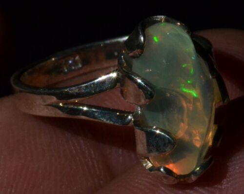 NATURAL SOLID FIRE OPAL 925 STERLING SILVER RING Sz 6.5 TAXCO MEXICAN JEWELRY
