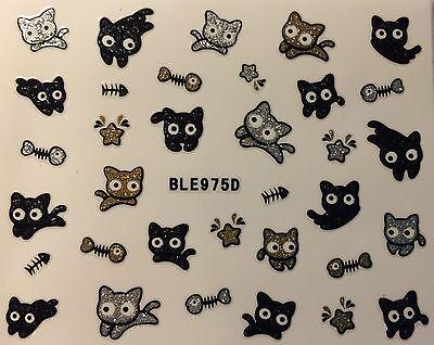 Nail Art 3D Glitter Decal Stickers Cat Kittens Fish Bones Halloween BLE975D](Halloween Cat Nail Art)