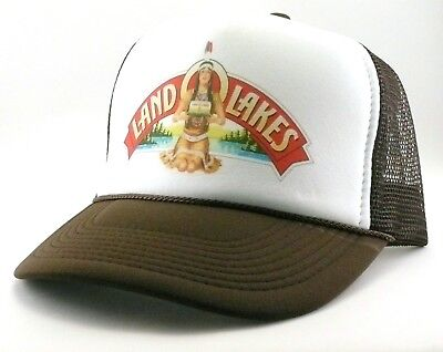 Land O Lakes Trucker Hat mesh hat snapback hat brown Indian butter hat