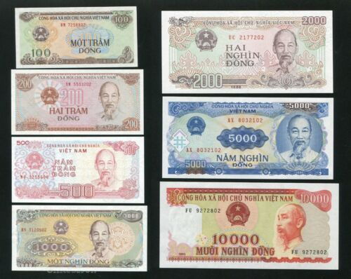 Vietnam banknote 100 200 500 1000 2000 5000 10000 dong ND 1987-1993 UNC