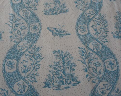 Vintage French Floral Garland Butterfly Bird Toile Cotton Fabric ~Turquoise Blue