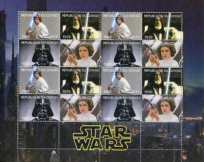 Congo 2017 MNH Star Wars Princess Leia Darth Vader Luke Skywalker 16v M/S Stamps