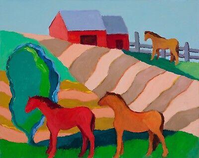 """ELLIE JONES ORIGINAL OIL PAINTING """"MEADOW AND HORSES 9"""", TREES, BARN, 16""""x 20"""""""
