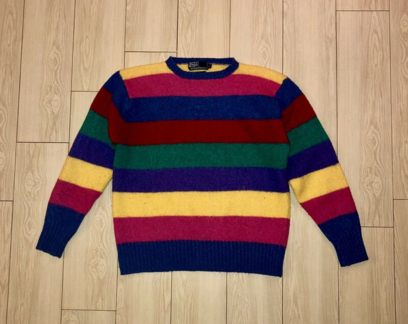 VTG Boys POLO RALPH LAUREN Wool Sweater Striped Rainbow Multi Color XL RARE