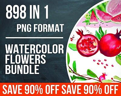 898 WATERCOLOR FLOWERS PNG set. Watercolor clipart hand drawn. EXTENDED LICENCE!
