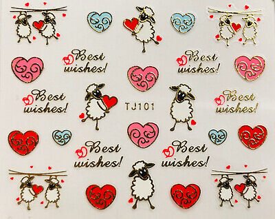 Nail Art 3D Decal Stickers Valentine's Day Best Wishes Sheep Hearts