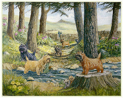 "CAIRN TERRIER DOG FINE ART LIMITED EDITION PRINT - ""Tails by the River Bank"""