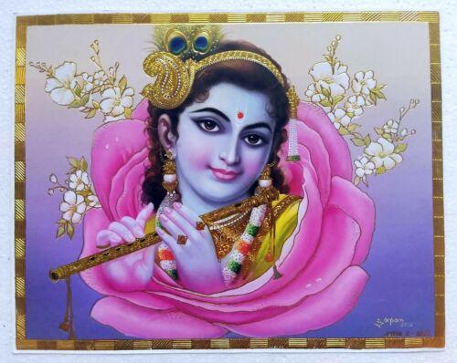Golden Foil Poster Hindu God Sri Krishna Krsna - 11 X 9 Inches