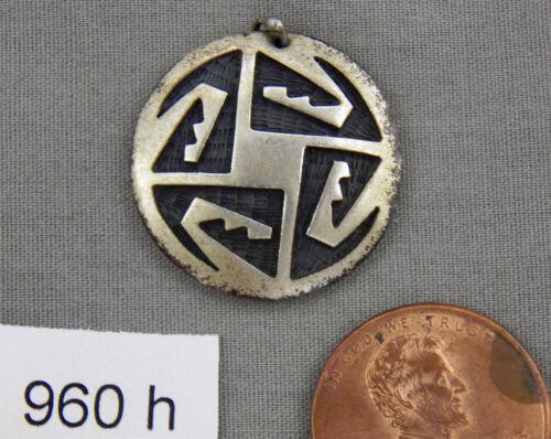 Early Hopi Enterprises Hopi Crafts Marked Overlay Sterling Pendant