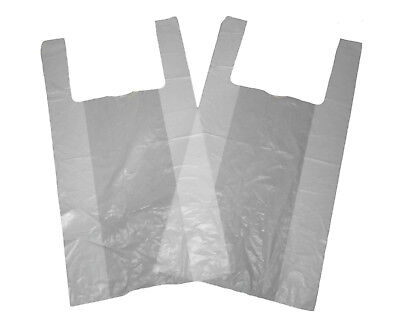 100 x STRONG WHITE VEST STYLE JUMBO CARRIER BAGS 12